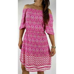 FREEZ Pink Off The Shoulder Boho Dress Size S 8-10